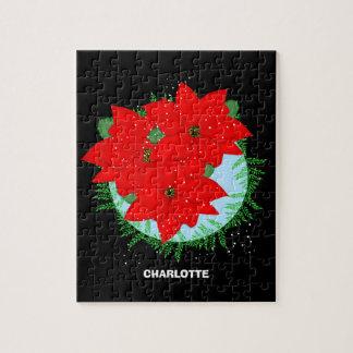 Christmas Flowers Red Poinsettia Festive Wreath Jigsaw Puzzle