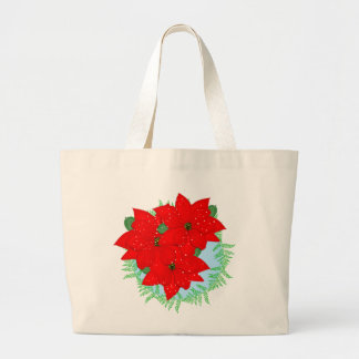 Christmas Flowers Red Poinsettia Festive Wreath Large Tote Bag