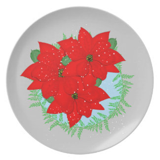 Christmas Flowers Red Poinsettia Festive Wreath Plate