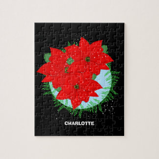 Christmas Flowers Red Poinsettia Festive Wreath Puzzles
