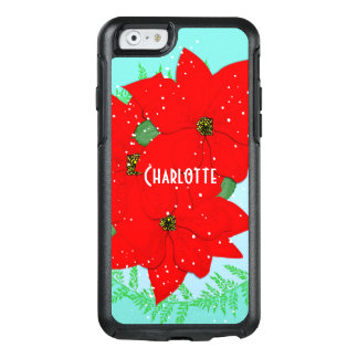 Christmas Flowers Red Poinsettia Personalized OtterBox iPhone 6/6s Case