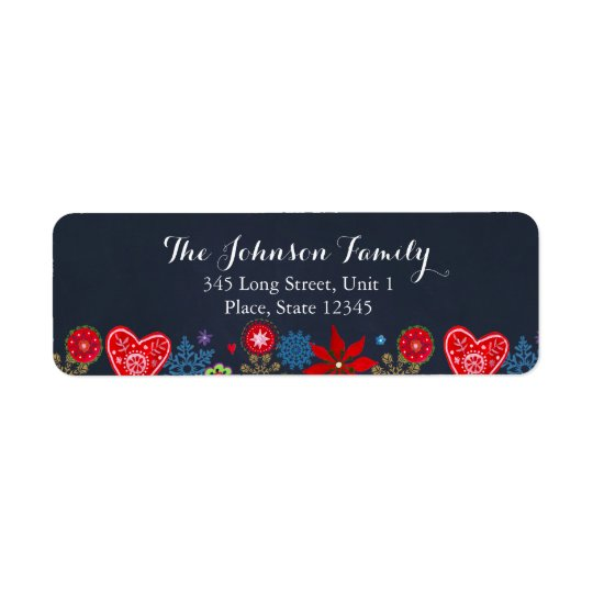 Christmas Flowers Snowflakes Return Address Label