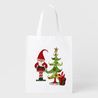Christmas Folk Whimsey Shopping Grocery Bag