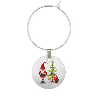 Christmas Folk Whimsey Wine Charm