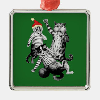 Christmas Football Playing Cats Silver-Colored Square Decoration