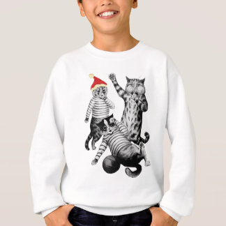 Christmas Football Playing Cats Sweatshirt