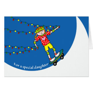 Christmas for Daughter, Skateboarding and Lights Card