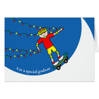 Christmas for Godson, Skateboarder and Lights Card