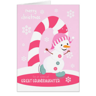 Christmas for Great Granddaughter Snowman Card