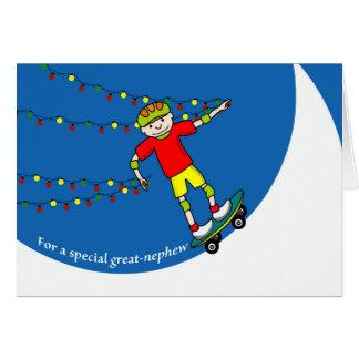 Christmas for Great-Nephew, Skateboarder & Lights Card