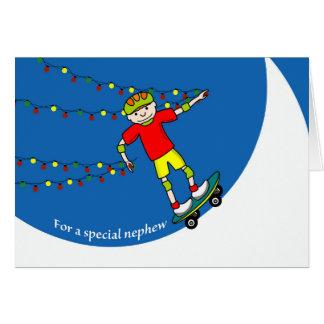 Christmas for Nephew, Skateboard and Lights Card
