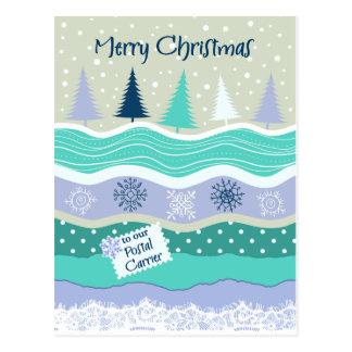Christmas for Postal Carrier Snowflakes Scrapbookg Postcard