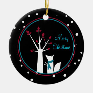 Christmas Fox and Tree From Our House To Yours Ceramic Ornament