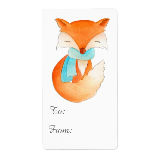 Christmas fox cub gift tag (to and from) shipping label