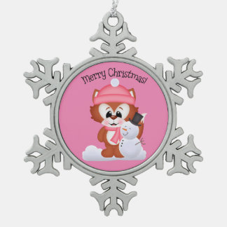 Christmas fox Holiday pewter snowflake ornament