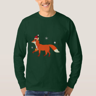 Christmas Fox with Santa Hat and Snowflakes T-Shirt