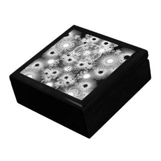 Christmas Fractals Black & White Stars Large Square Gift Box