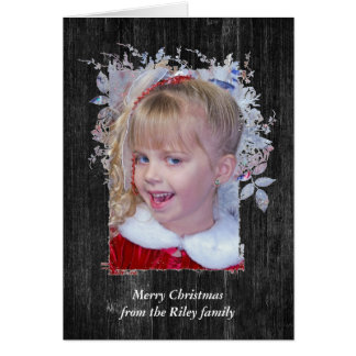 Christmas frame on dark wood card