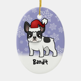 Christmas French Bulldog (add your pets name) Ceramic Ornament