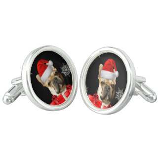 Christmas French Bulldog dog cufflinks
