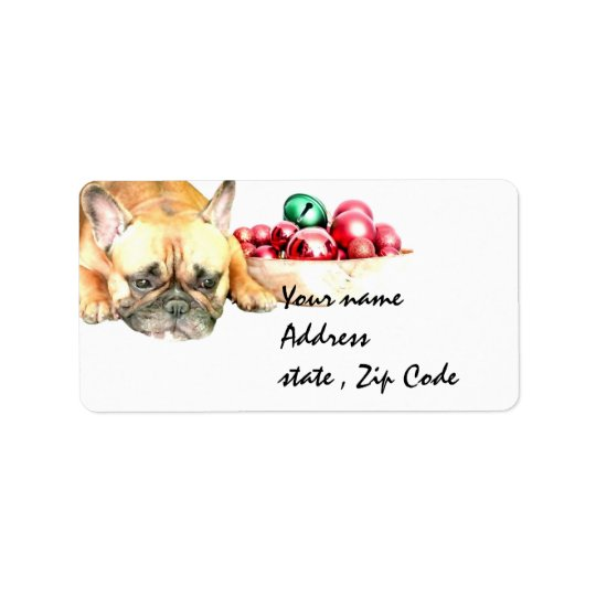 Christmas French Bulldog Label