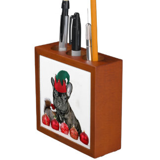 Christmas French Bulldog Pencil Holder