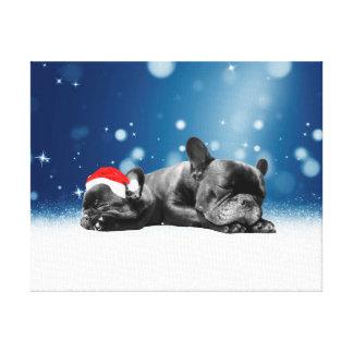 Christmas French Bulldog Puppies snow santa hat Canvas Print