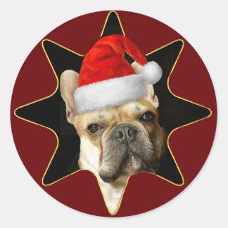 Christmas French bulldog stickers