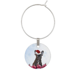 Christmas French Bulldog Wine Charm