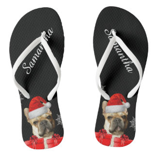 Christmas French Bulldogs personalized flip flops Thongs