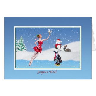 Christmas, French,  Joyeux Noël, Ballerina, Snow Card