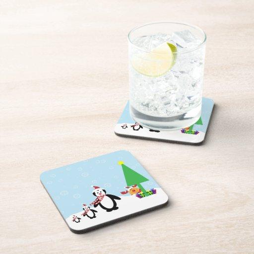 Christmas Friends: Penguins & Reindeer in the Snow Beverage Coasters