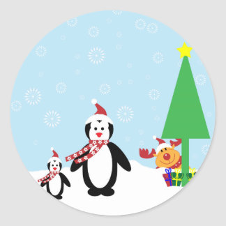 Christmas Friends Penguins Reindeer in the Snow Sticker