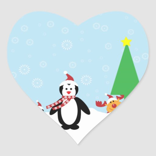 Christmas Friends: Penguins & Reindeer in the Snow Stickers