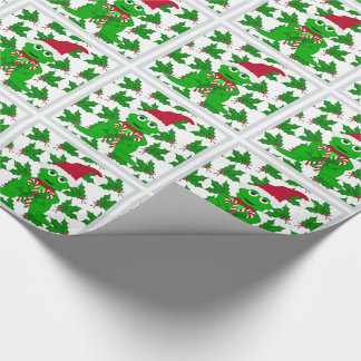Christmas Frog And Holly Wrapping Paper