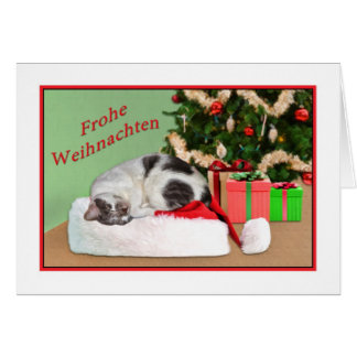 Christmas, Frohe Weihnachten, German, Sleeping Cat Greeting Card