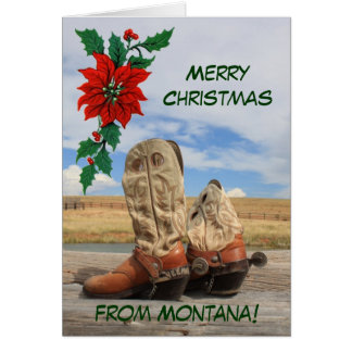 Christmas From Montana Western Boot Greeting Card