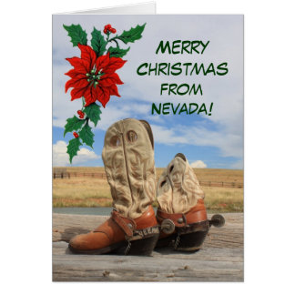 Christmas From Nevada Western Boot Greeting Card