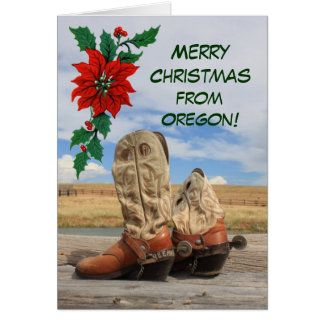 Christmas From Oregon Western Boot Greeting Card