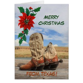 Christmas From Texas Western Boot Greeting Card