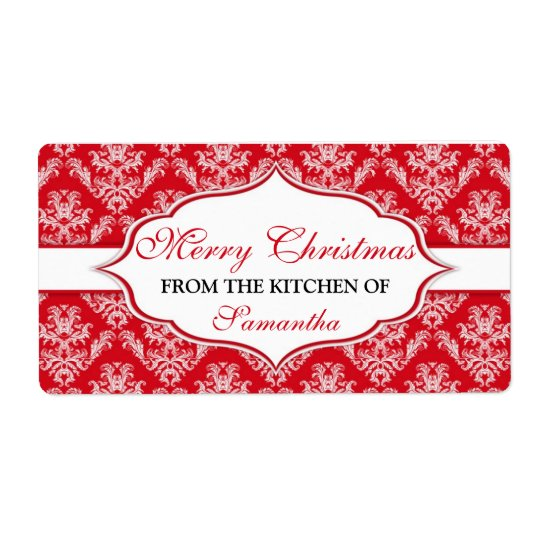 Christmas From The Kitchen Of labels Personalised