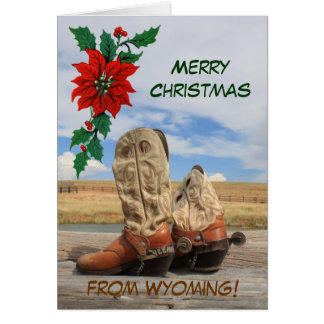 Christmas From Wyoming Western Boot Greeting Card