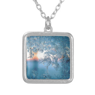 Christmas frost ice silver plated necklace
