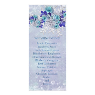 Christmas Frosty Blue Roses Wedding Menu Invite