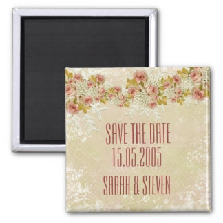 Christmas Frosty Gold Roses Save the date Magnet
