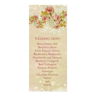Christmas Frosty Gold Roses Wedding Menu Personalized Invitations