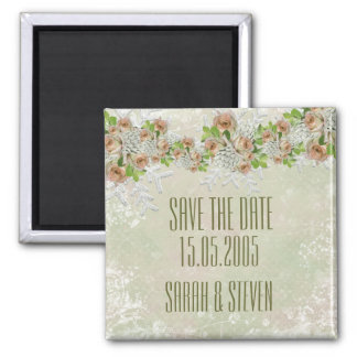 Christmas Frosty Green Roses Save the date Refrigerator Magnet