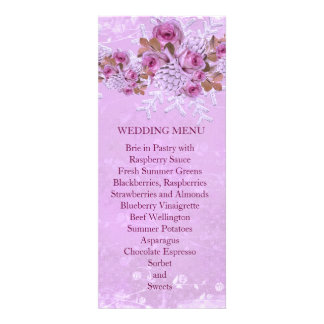 Christmas Frosty Lavender Roses Wedding Menu Personalized Invite