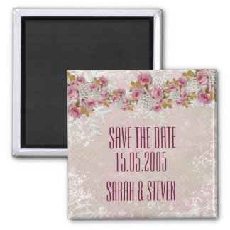 Christmas Frosty Pink Roses Save the date Magnet
