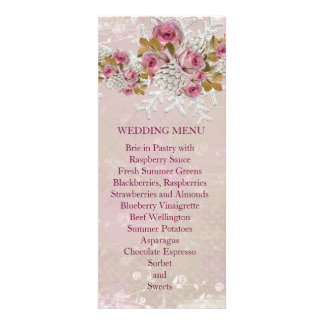 Christmas Frosty Pink Roses Wedding Menu Personalized Announcements